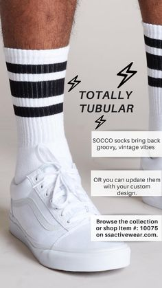 Totally tubular. ✌🏼Get your groove on with Socco socks and bring on the vintage vibes. ⚡️Item #: 10075 on ssactivewear.com!