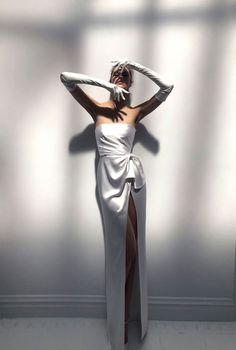 "Say ""hello"" to this dreamy classic gown with a modern twist! JACKIE wedding dress by Livné White. This fitted silk strapless corset wedding gown from 2019 bridal collection features a high slit with a unique asymmetrical draping at the skirt. White Wedding Dresses, Bridesmaid Dresses, Bride Dresses, Wedding White, Dress Wedding, White Weddings, Simple Gowns, Strapless Corset, Dress Vestidos"