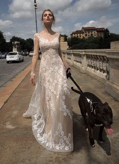 Alessandra Rinaudo | Hong Kong | A fairytale wedding dress in nude with French lace & dazzling gemstones detail.