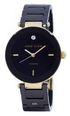 Features:  Gold Tone Metal Case Black Ceramic And Gold Tone Metal Bracelet Quartz Movement Mineral Crystal Black Dial Analog Display Diamond Marks At 12 O'clock Position Pull/Push Crown Jewelry Clasp 30M Water Resistance  Approximate Case Diameter: 30mm Approximate Case Thickness: 9mm Jewelry Clasps, Metal Bracelets, Anne Klein Watch, Krystal, Michael Kors Watch, Watches, Accessories, Women, Analog Signal