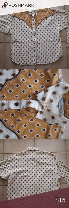 Karman Western Button-Up Classic western button-up, size large. Karman Tops Button Down Shirts