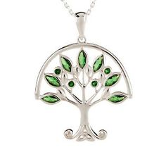 Style is in bloom with this Solvar Sterling #Emerald Silver Green Tree of Life Pendant. #ColoroftheYear