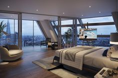 Skyline View CB Platinum Penthouses next to London Eye, London – Updated 2019 Prices Mansion Interior, Dream House Interior, Luxury Homes Dream Houses, Dream Rooms, Dream Bedroom, Home Bedroom, Apartment View, Dream Apartment, Penthouse Apartment