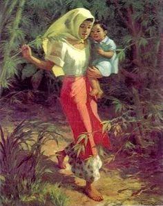 Woman Carrying A Child - Fernando Amorsolo (1892 – 1972, Filipino)