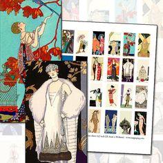 1920s Fashion Plate domino digital collage sheet 25mm x 50mm 1 x 2 inch flapper jazzbaby