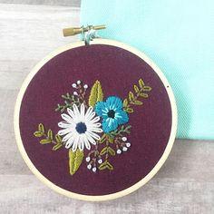 Embroidery Hoop Art. Floral Embroidery. Fiber Art. Flower Wall
