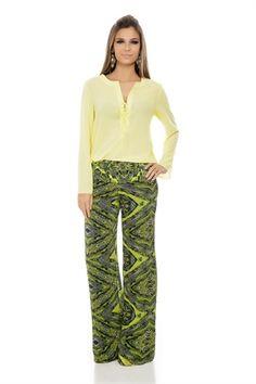 Calça Pantalona Estampa Étnica - outlet-calca-pantalona-estampa-etnica Iorane