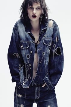 Dondup's cotton denim jacket and jeans with metal chain embroidery. Anndra Neen earring.