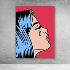 crying canvas girl wall pop art red Pop Art Girl Crying Red Canvas Wall ArtYou can find Painting ideas on canvas and more on our website Easy Canvas Art, Simple Canvas Paintings, Small Canvas Art, Cute Paintings, Mini Canvas Art, Acrylic Painting Canvas, Diy Canvas, Paintings With Quotes, Girl Paintings