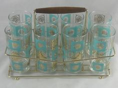 Vintage Retro Set Of 8 Drinking Glasses and Wire Rack Holder Caddy Glass $250.