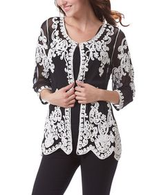 Another great find on #zulily! Black & White Crochet Cardigan - Women #zulilyfinds