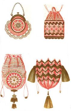 French crochet bag patterns from 1855.