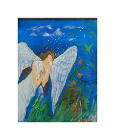 Angel Painting Abstract Painting Canvas Art Religious Art Painting Canvas, Stone Painting, Canvas Frame, Canvas Art, Painting Abstract, Angel Artwork, Nursery Artwork, Trending Art, Cross Art