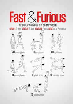 All cardio no-equipment Fast & Furious workout. Seven explosive exercises for high fat burn. Print & Use.
