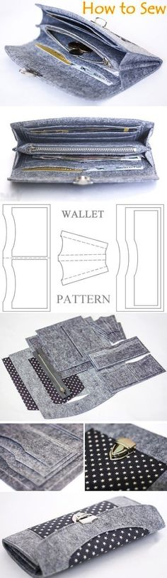 Wallet sewing pattern / tutorial, felt wallet pattern. DIY Photo Tutorial www.handmadiya.co...