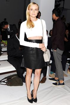 NYFW Edition: Diane Kruger in Calvin Klein Collection at the Calvin Klein Spring 2013 Front Row. Diane Kruger, Celebrity Dresses, Celebrity Style, Calvin Klein Collection, Fashion Articles, Street Style Looks, Long Sleeve Crop Top, Couture Fashion, Nice Dresses