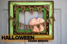 Turn and old frame into a wreath for Halloween. This post will show you how to make a custom Halloween wreath and can bee a great craft to do with the kids also.