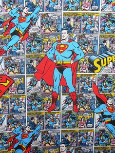Superman Comic Strip | Superman Comic Strip Fabric / BTY by trinketsintheattic on Etsy