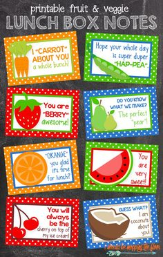 Free Printable Lunch Box Notes - Send a little surprise in your kid's lunch! These free printables are the perfect way to remind your child that they're dearly loved. Notes For Kids Lunches, Kids Notes, Lunch Notes, Kids Meals, School Lunch Box, School Lunches, Kid Lunches, Kid Snacks, Lunch Snacks