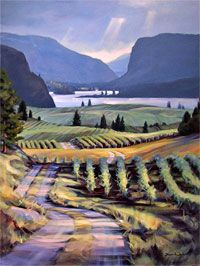 Overlooking Vaseaux Lake, Okanagan, British Columbia - acrylic painting on canvas by Shawn Jackson