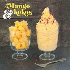 Offer a mouthwatering mango dessert with just two ingredients! Mango Desserts, Fun Desserts, Best Dessert Recipes, Desert Recipes, Raw Food Recipes, Lchf, Swedish Recipes, Cake Ingredients, Healthy Sweets