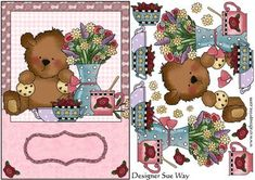 Flowers Teddy Tea Time Card Front and Decoupage