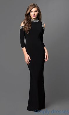 Cold Shoulder Long Black Jersey Formal Gown by Mariana - Brought to you by Avarsha.com