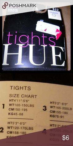 Two pairs of opaque black tights. Hue Tights, size small. Opaque black. Ht: 4'11-5-6. Wt: 100-150lbs. 2pair. HUE Accessories Hosiery & Socks