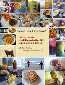 GAPS Intro cover new 2013  What Can I Eat Now it is laid out as a 30 day menu plan. Thttp://www.wellness-and-workouts.com/gaps-diet-intro.html#sthash.dqNCDgTz.dpuf