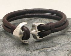 Anchor bracelet.Men's bracelet leather Brown by eliziatelye