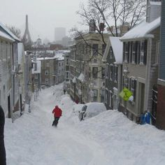Urban skiing at it's finest in Boston, Massachusetts after the blizzard.  Photo via SOUL POLES