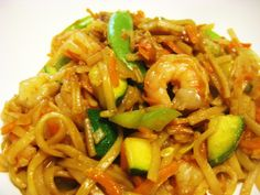 Spicy Shrimp Stir Fry over Rice Noodles ~ Delicious with a scrambled egg and substitute broccoli for the zucchini