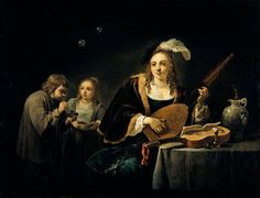 David Teniers (1610-1690) - Lady Playing a Lute