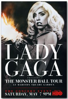 Vintage Music Art Poster - Lady Gaga The Monster Ball Tour - Maddison Square Garden 0556 Lady Gaga Tour, Divas, Promo Flyer, The Fame Monster, Tour Posters, Madison Square Garden, A Star Is Born, New Poster, Concert Posters