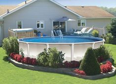 Popular Above Ground Pool Deck Ideas. This is just for you who has a Above Ground Pool in the house. Having a Above Ground Pool in a house is a great idea. Tag: a budget small yards Best Above Ground Pool, Above Ground Swimming Pools, In Ground Pools, Above Ground Pool Landscaping, Swimming Pool Landscaping, Landscaping Ideas, Backyard Landscaping, Inexpensive Landscaping, Farmhouse Landscaping