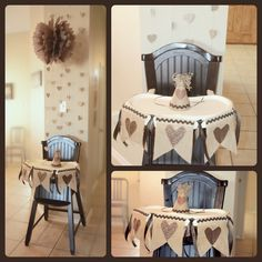1st birthday party high chair & DIY party hat    Vintage heart party