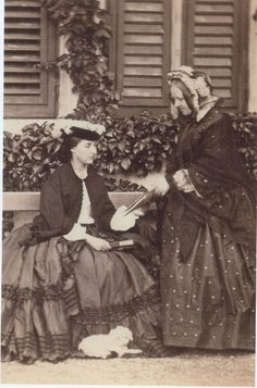 Another royal birthday:  Archduchess Charlotte of Austria, AKA Empress Charlotte of Mexico, neé Pss of Belgium.  Here in Miramare with Mme Bovee, who was her governess. 1859  Image courtesy of Karlandzita from APF