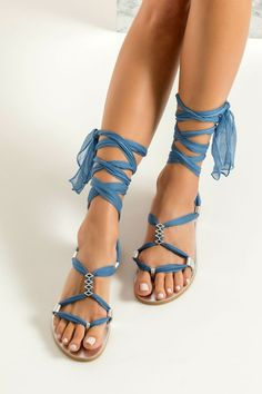 Fully Customizable Women's Sandals. Choose scarf laces from 15 colors, leather footbed from 6 colors and silver or 24k gold plated embellishments. Eleftheria II wedding sandals are handcrafted in Greece from fine silver leather. Their wraparound design is accented with silk laces in blue pastel and silver plated embellishments across the instep, while the silhouette remains minimal. These bridal flats adjust to the perfect fit and sit on anti-slip rubber outsole. Ultra lightweight and comfy. Wedding Sandals For Bride, Blush Wedding Shoes, Bridal Sandals, Boho Sandals, Lace Up Sandals, Wedding Attire, Bridal Shoes, Flat Sandals, Gladiator Sandals