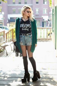 Brujos Brewing Shirt, Distressed Shorts, Green Cardigan, Fringe Bag, BRONHILDA Extreme Platform Boots & Flannel Plaid Button Up