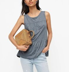 Rock this J. Crew linen tiered tank on a boat cruise or at an outdoor park all day and feel a reprieve from the heat the whole time! Though it feels like a casual piece, the details pretty this up so you could even wear it to a business casual workplace. #TravelFashionGirl #TravelFashion #TravelClothing #capsulewardrobe #linentops #summerclothing Parisian Chic Style, J Crew Style, Cool Costumes, Costume Ideas, Couture Week, Capsule Wardrobe, Fashion Outfits, Fashion Tips, Style Fashion