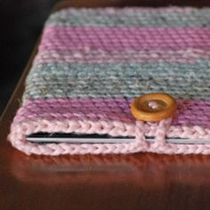 Crocheted iPad case. made from scrap yarn. Quick easy project to personalize your iPad.
