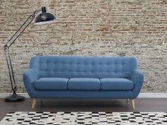 Bank blauw, sofa, gestoffeerde bank, designbank, MOTALA