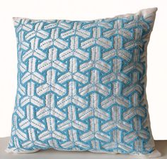 Ivory Silk Throw Pillow Cover Turquoise Bead by AmoreBeaute