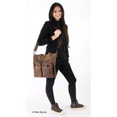Greenburry VINTAGE Leder - Shopper Messenger Schultertasche Umhängetasche - ANTIKBRAUN (Taschen)