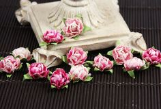Prima - Cameo Roses Collection - Miniature Mulberry Flower Embellishments - Azalea at Scrapbook.com $3.99
