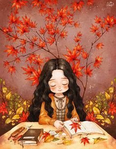 내가 찾은 가을을 책장 사이 고이 넣어 간직해요. Carefully storing my autumn memorabilia inside the pages of my book.