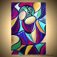 Original Modern Abstract Contemporary Art Deco Painting on Large Canvas DANCE with ME by Luiza Vizoli. $425.00, via Etsy.