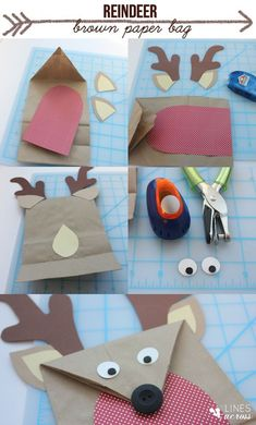 I shared with you how to make these woodland creature gift bags from brown paper lunch sacks. I also thought it would be cute to make a reindeer gift bag for Christmas. What you need: 1. Brown paper lunch bags 2. Scrapbook paper and card stock 3. Scissors 4. Glue and/or tape (I used Elmer's dot runner) 5. A black or brown button 6. (Optional)