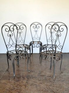 Antique French wrought iron chairs
