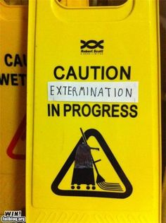 """#DoctorWho Dalek """"Caution: Extermination In Progress!"""" Yellow Plastic Janitor's Work Sign"""